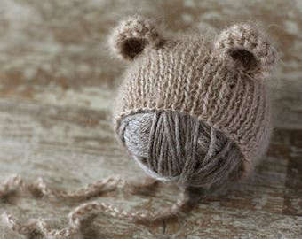 Baby bear hat, newborn mohair hat, baby girl hat, baby boy hat, new born photo prop, photography
