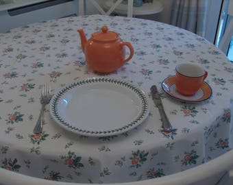 Tablecloth 48 inch square polyester/cotton Cream with small Peach and orange roses
