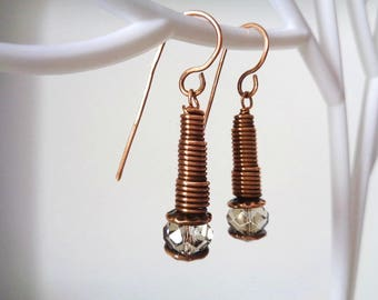 Antique copper Earrings with Swarovski crystals
