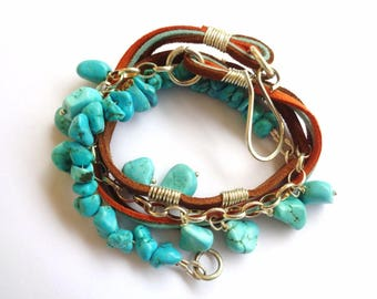 Leather and turquoise 925 silver bracelet