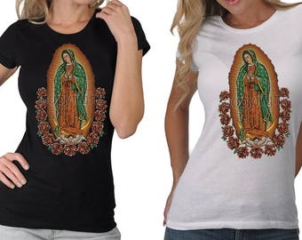 Women's Madonna Our Lady Of Guadalupe Mother Virgin Mary Many Colors T-Shirt