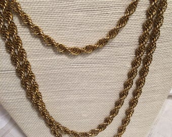 Monet Goldtone Long Twisted Ropelike Chain Necklace