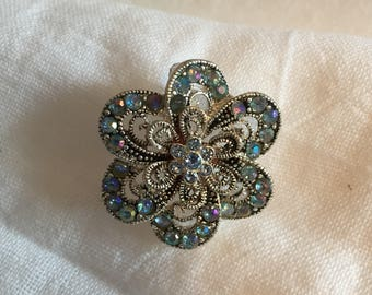 Silvertone and Blueish/Pink RhinestOne Flower Brooch