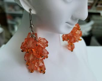 Vintage dangling cluster Pierced translucent plastic earrings