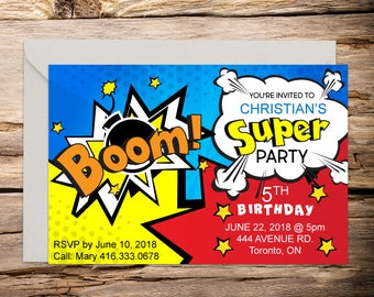 Superhero invitation with Setup, comic invitation, superhero, superhero birthday, superhero party, superhero invite, comic book invite