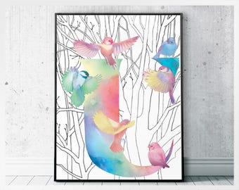 Alphabet digital letter U art print- monogram letter art prints - initial U bird monogram print - letter U monogram art poster
