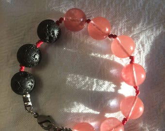 Mother Earth and Lava diffuser mala bracelet