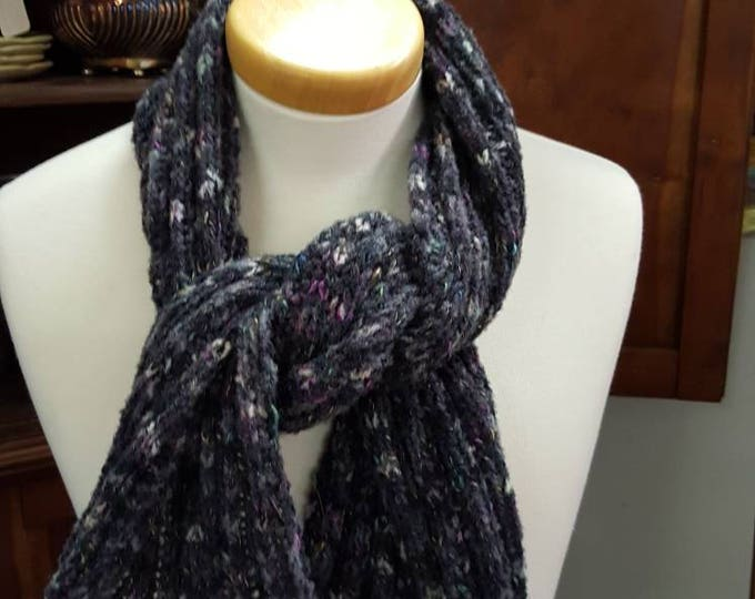 Handmade Knitted Warm Soft Charcoal Variegated Tweed Wool Blend Scarf or Wrap Rib