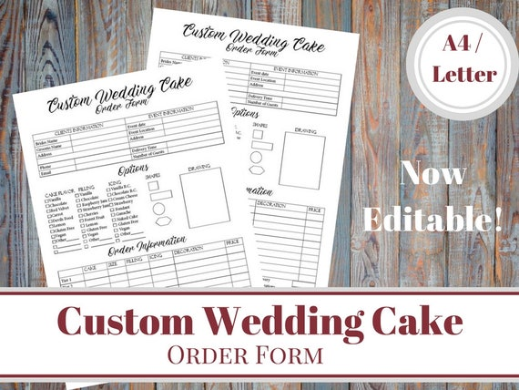 editable custom wedding cake order form bakery order cake