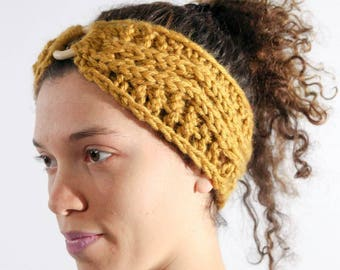 Yellow Chunky Knit Headband with Wood Cabone Ring