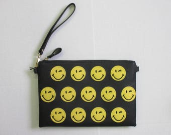 Vegan Leather Smiley Clutch