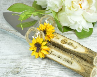 Wedding Cake Cutting Set Sunflower Cake Set Serving Set Cake Knife Set Rustic Cake Server Set Cake Cutter Burlap Cutting Set Sunflower