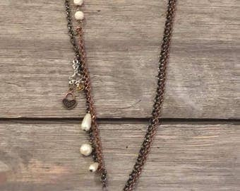 Copper Tone Tassel & Cross Necklace