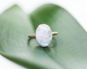 Large Moonstone Ring | Moonstone Ring | Rainbow Moonstone Ring | June Birthstone Ring | Organic Stone Jewelry | Moonstone Jewelry | Gem Ring