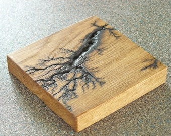 Lichtenberg Coasters, Hardwood, Decoration, Candle Holder, Coaster, Reclaimed Oak, Pyrography, Fractal