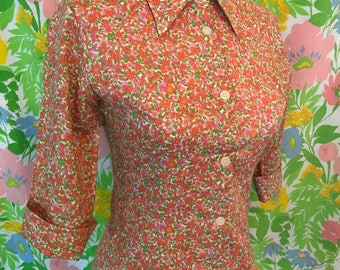 1970s Love Boat Floral Print Pointed Collar Blouse