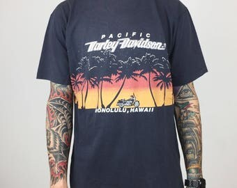 RARE Vintage 80s Pacific Harley Davidson Honolulu Hawaii double sided wrap around graphic moto motorcycle tee t-shirt shirt - Size L