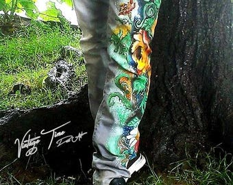 Hand- Painted Flowers Inspired Recycled Jeans/Handmade Jeans/Custom-made Long Denim/One of a kind Jeans/Trendy jeans/Floral Denim!