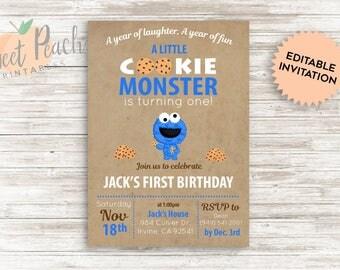 DIY Cookie Monster 1st Birthday Invite 5x7 PDF Digital File DIY personalized Birthday Invitation