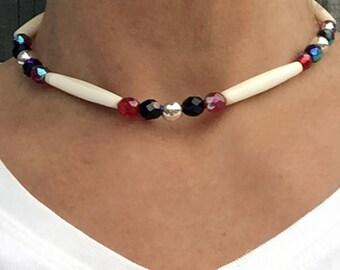 Native American Bone Choker-Authentic Native Cheyenne Handmade-Buffalo Bone