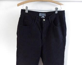 Vintage 1980s 1990s Guess jeans black denim high rise triangle logo 28 waist