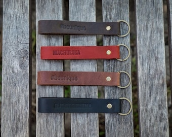Personalised leather keychain, lanyard, free monogram, groomsman gift, gift for him, gift for her, FREE MONOGRAM