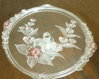 Stunning French Vintage Moulded Glass Cake Stand or Cheese Platter