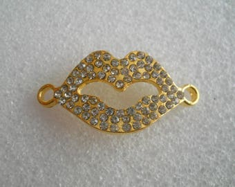 """Connector for jewelry - shape """"mouth"""" - gold tone and rhinestone design"""