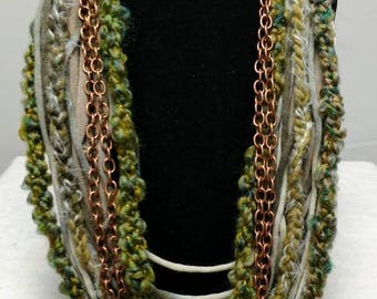 Textile jewelry, scarf necklace, upcycled t-shirt necklace, t-shirt necklace, layered necklace
