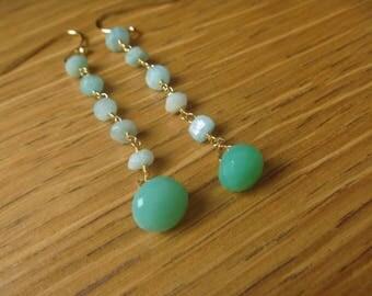 Earrings green Crystal with Aqua Amazonite and chalcedony
