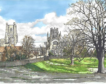 Limited Edition Print of a Pen and Ink drawing of Ely Cathedral