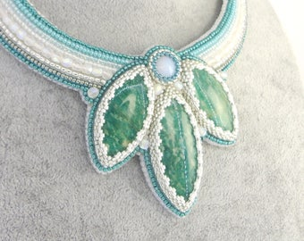 Bead Embroidery Necklace with amazonite cabochons