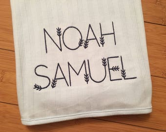Personalized Baby Blanket - Organic Cotton Embroidered - coupon details below