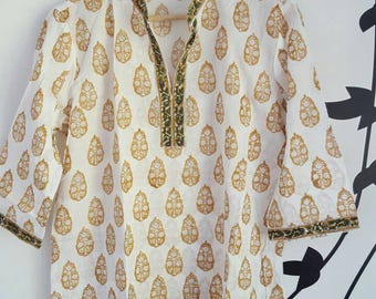 Cotton hand block printed tunic, pure cotton voile, beach cover up, beach tunic