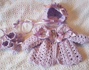 Crochet baby cardigan bonnet shoes and mitts