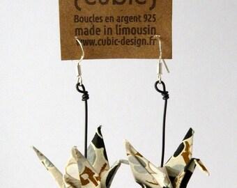 Origami crane grey Flower Earrings