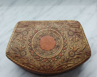 Vintage Italian Leather Keepsake Box, Tooled Leather And Gold Gilt Detailed Hinged  Jewelry/Curio Box
