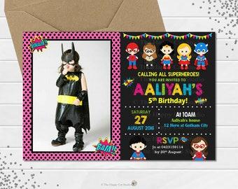 Superhero Personalized Invitation, Printable, Digital Print, File, Superheroes, Super Hero, 1st Birthday Party, First, Boys and Girls, Photo