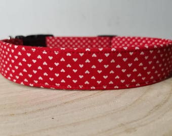 "Red Valentine's Day Dog Collar - White Heart Dog Collar - Heart Dog Collar - Valentine Dog Collar - Love Dog Collar ""The Neena"""