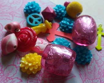 Neon Punk Charms, Caboochons and Beads Jewellery Gift Pack