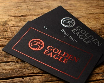 Luxury business cards, metallic foil print on Black card stock paper