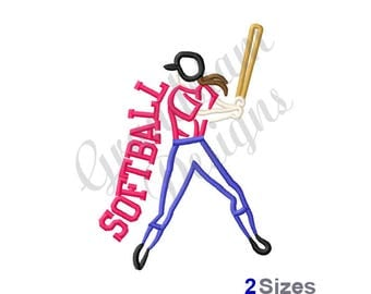 Softball Batter Outline - Machine Embroidery Design