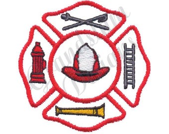 Maltese Cross Fireman - Machine Embroidery Design