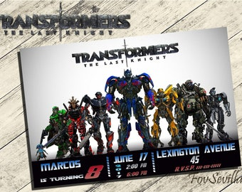 Invitation transformers the last knight, birthday invitation transformers, party transformers, party transformers