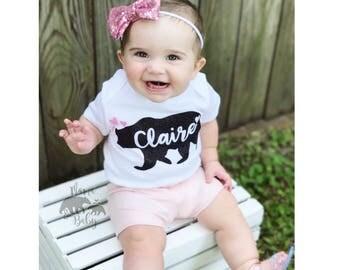 Baby Girl's Baby Bear Onesie, Baby Bear Outfit, Baby Bear Shirt, Mama Bear Baby Bear, Black and Pink, Baby Bear Bodysuit, Toddler Baby Bear