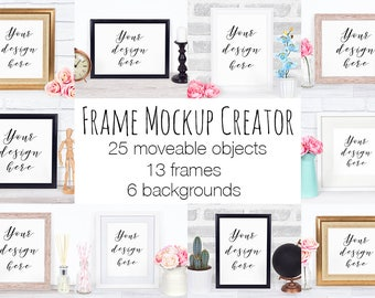 Frame Mockup Creator, Scene Creator With Moveable Objects and Props, Frame Mock Up Template, Photoshop psd File