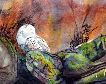 B4  Original Artwork//Early Morning on the Mud Flats//Owl//Birds in watercolour