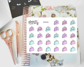 Shopping bags (Im broke, shopping again, spent all my money, shopaholic) hand drawn planner stickers