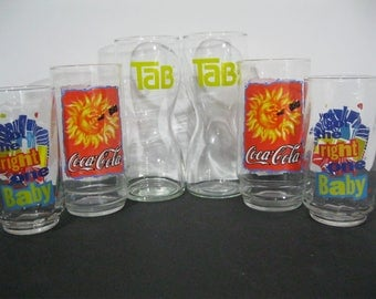 Vintage Soda Glasses Set of Six, Retro Diet Pepsi, Tab and Coke Glasses