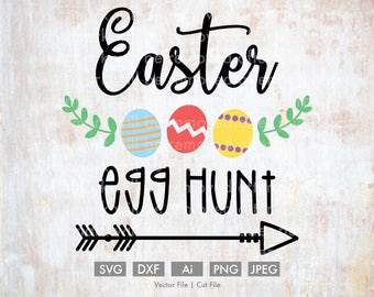 Easter Egg Hunt - Cut File/Vector, Silhouette, Cricut, SVG, PNG, Clip Art, Download, Holidays, Arrows, Spring, Rabbit, Calligraphy, Eggs